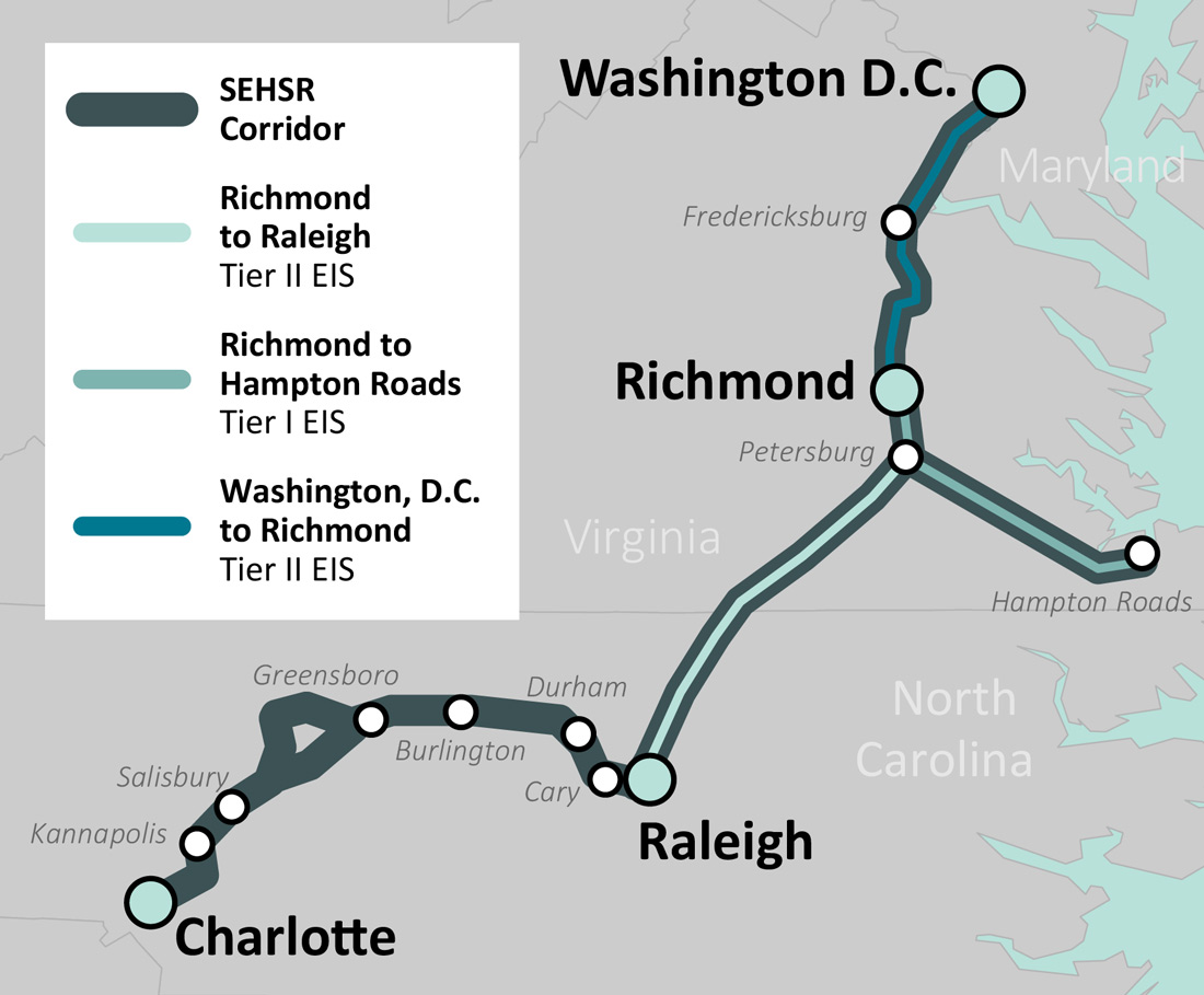 DC To Richmond Southeast High Speed Rail  Project Background - Southeast us rail map